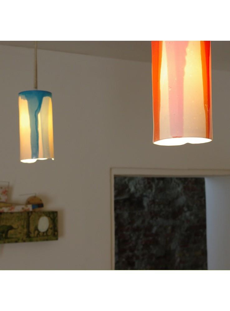 Lampada a sospensione in ceramica rossa di design luciombre - Lampada sospensione design ...