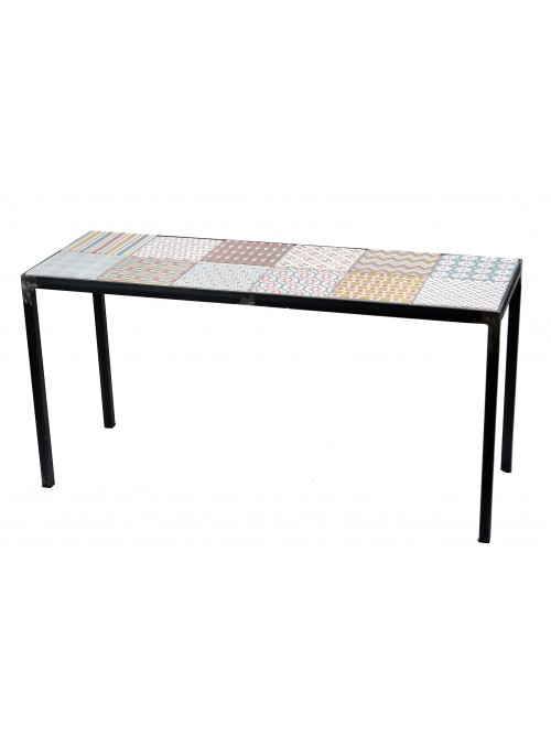 Design iron and decorated ceramic bench - Siviglia