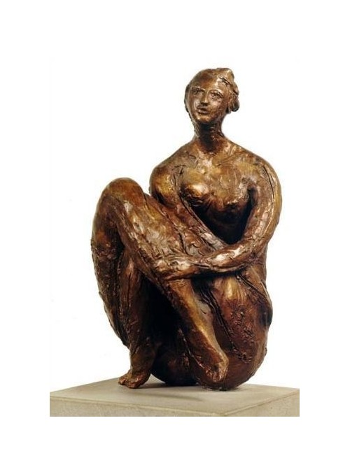 Bronze sculpture representing a Sitting Woman