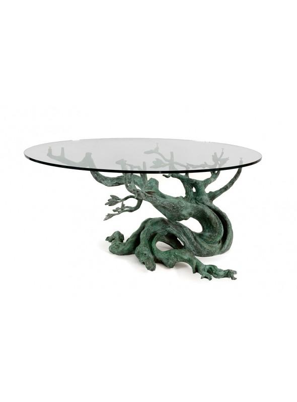 Elegante tavolino in bronzo e piano di cristallo - Ulivo