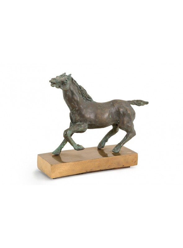 Bronze sculpture of a running horse