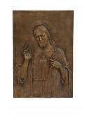 Religious bronze bas-relief - Sacred heart
