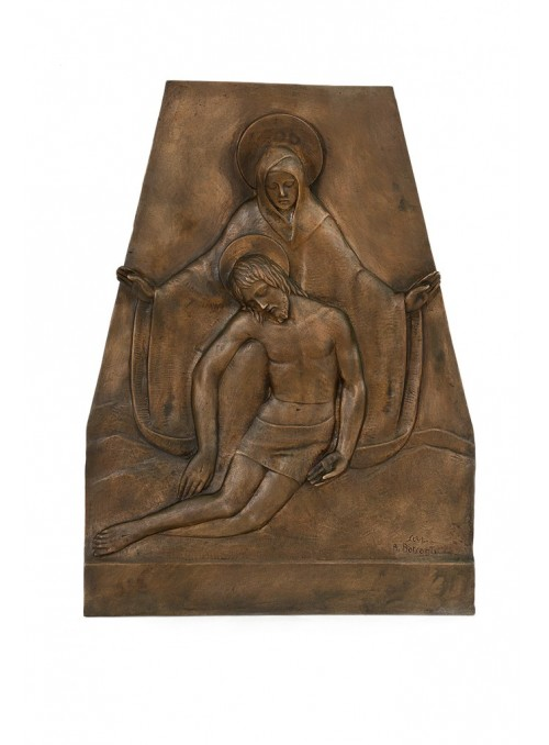 Religious bronze bas-relief - Burial of Jesus with Mary