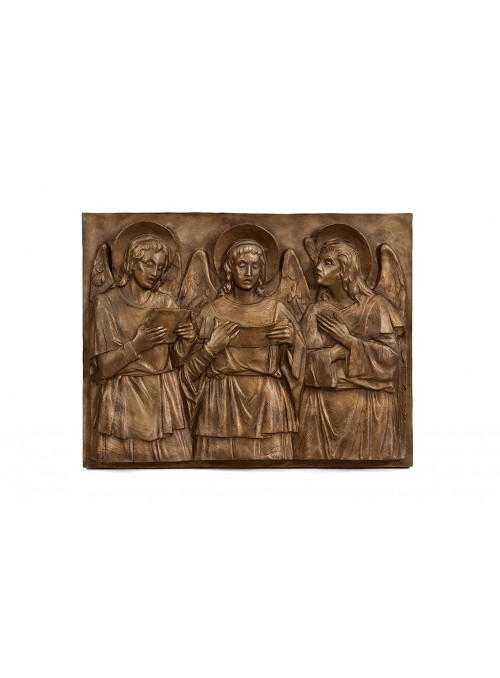 Religious bronze bas-relief - Praying Angels