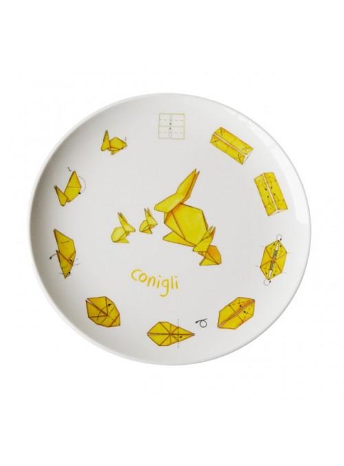 Piatto piano per bambini in melamina - Conigli Origami