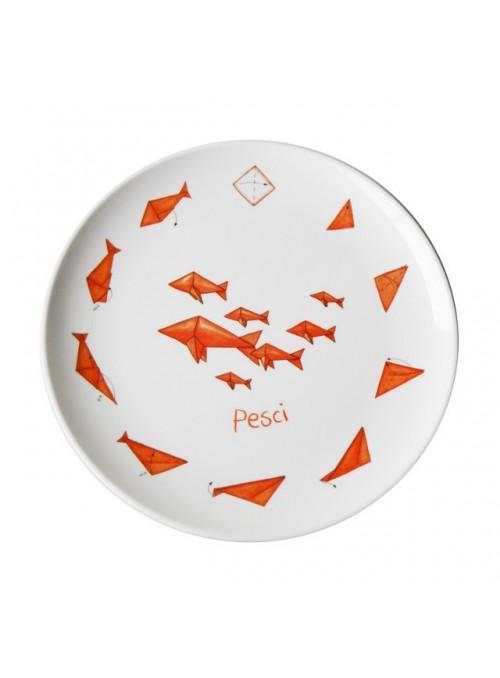 Piatto piano per bambini in melamina - Pesci Origami