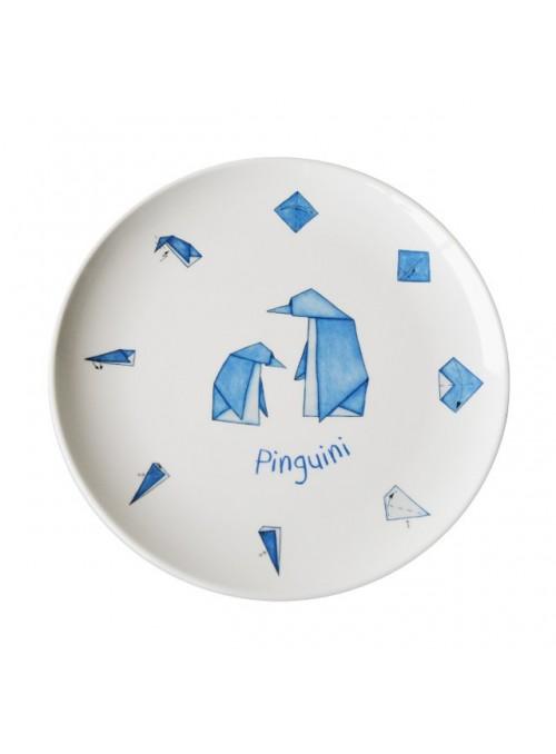Piatto piano per bambini in melamina - Pinguini Origami