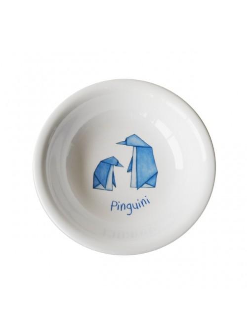 Piatto fondo per bambini in melamina - Pinguini Origami
