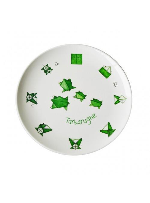 Piatto piano per bambini in melamina - Tartarughe Origami