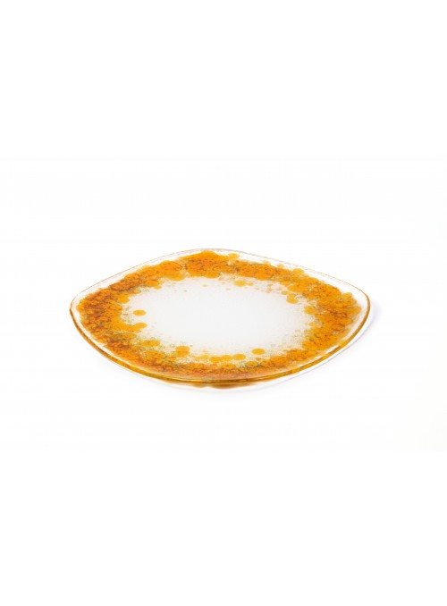 HIMEJI piatto piano in vetro dorato