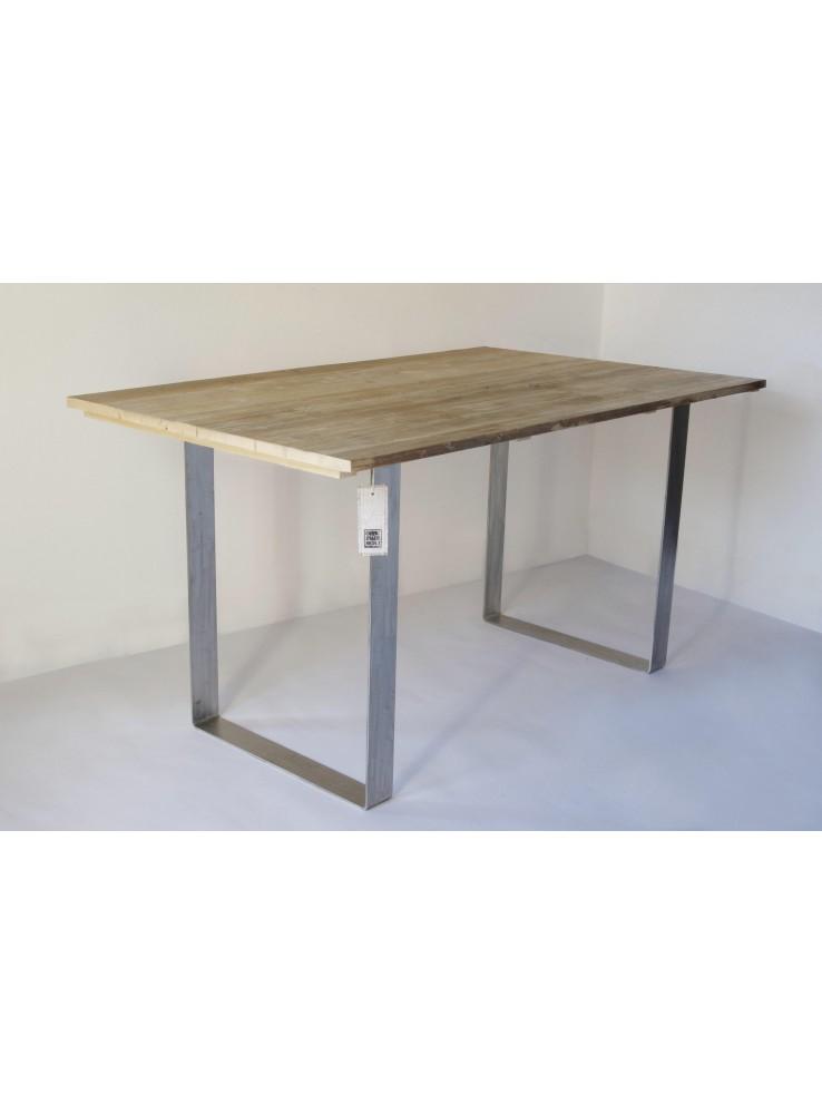 tavolo in legno di abete riciclato e acciaio inox