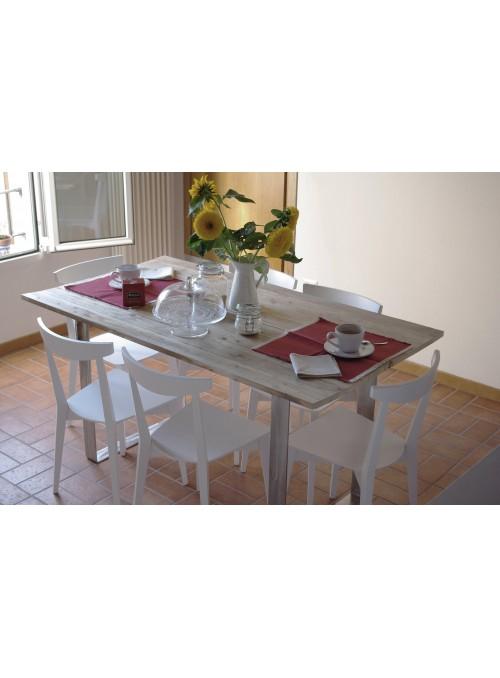 Cri - tavolo in legno di abete riciclato e acciaio inox