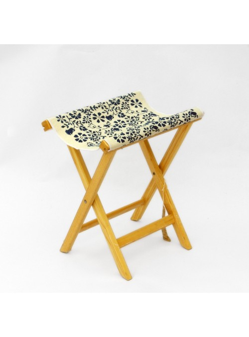 Stool in light wood and canvas - Sabbia Campanelle