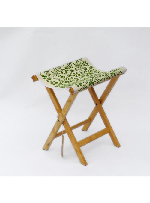 Sgabello in legno e tela leggera - Sabbia Campanelle