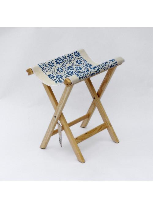 Sgabello in legno e tela artigianale - Sabbia Ceschi