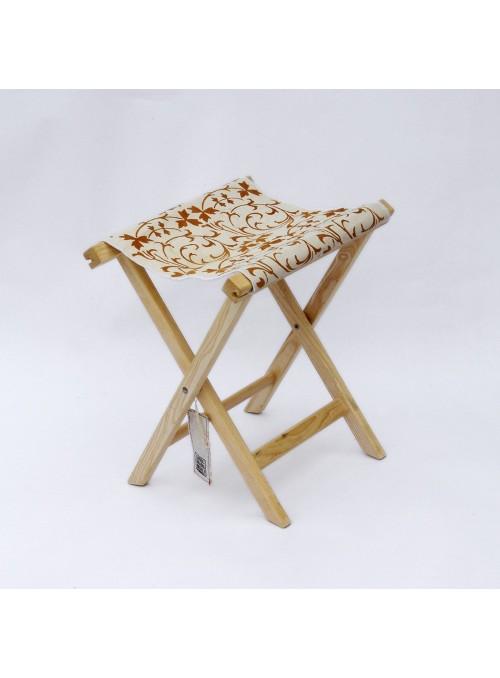 Sgabello in legno e tela con due diverse decorazioni - Sabbia Falerone