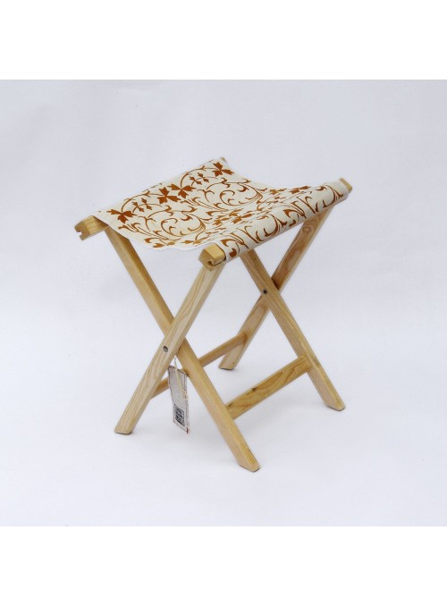 Stool in wood and canvas in two different decorations - Sabbia Falerone