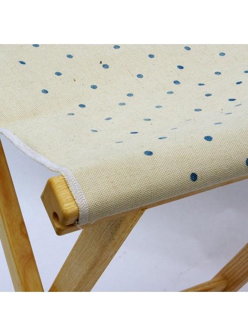 Sgabello in legno e tela con decorazione a pois - Sabbia Pois