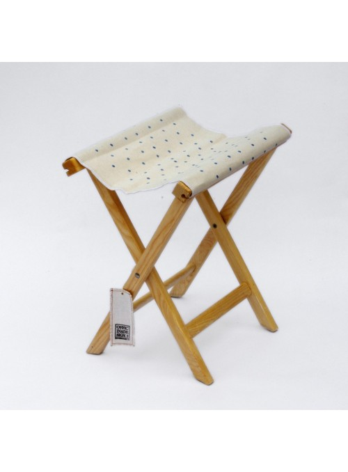 Stool in wood and canvas with pois decoration - Sabbia Pois