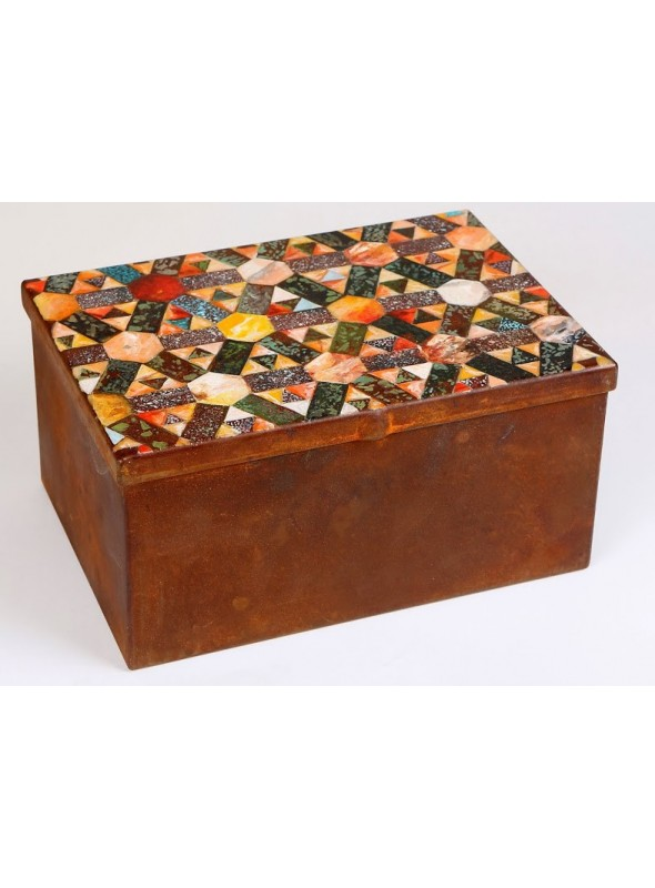 Storage box manufactured in weathering steel - Pavè