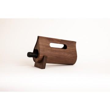 Portavino di design in legno raffinato e pelle