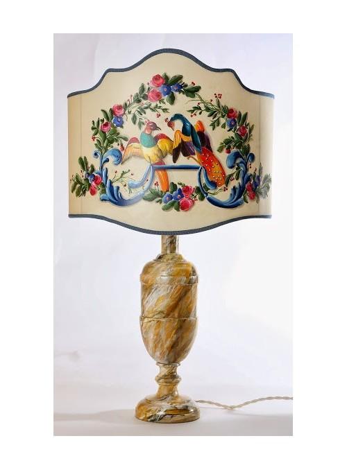 Lampada da tavolo con pavoni dipinti a mano - Pavone