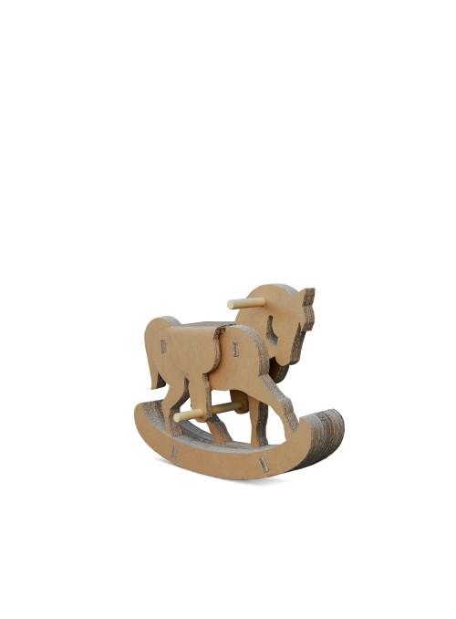 Cavallino a dondolo di ecodesign in cartone e legno per bambini