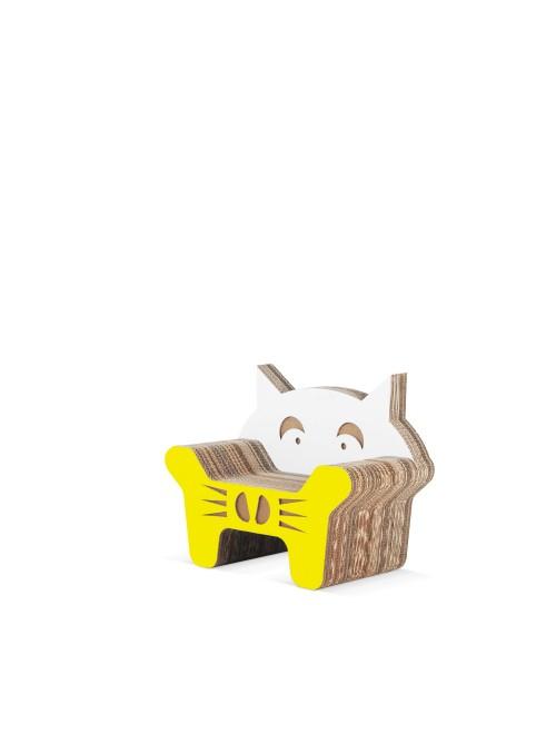 Poltroncina per bambini di ecodesign in cartone colorato - Gatto