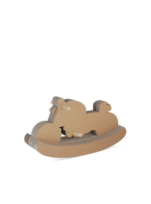 Moto a dondolo, giocattolo di ecodesign in cartone e legno per bambini