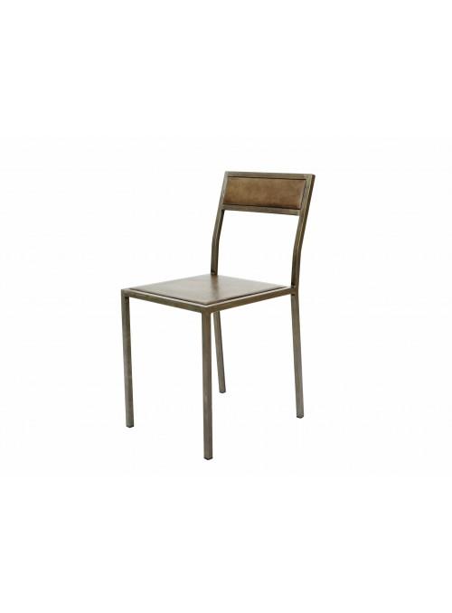 Set di 4 sedie artigianali in ferro con seduta e schienale in pelle