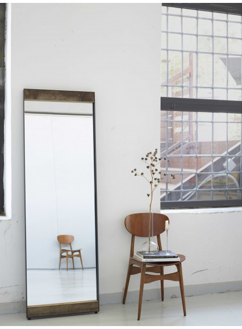 Specchio artigianale Oak in ferro e legno di rovere
