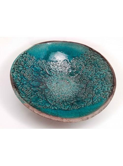 Ciotola giapponese in ceramica Raku con pizzo fatto a mano