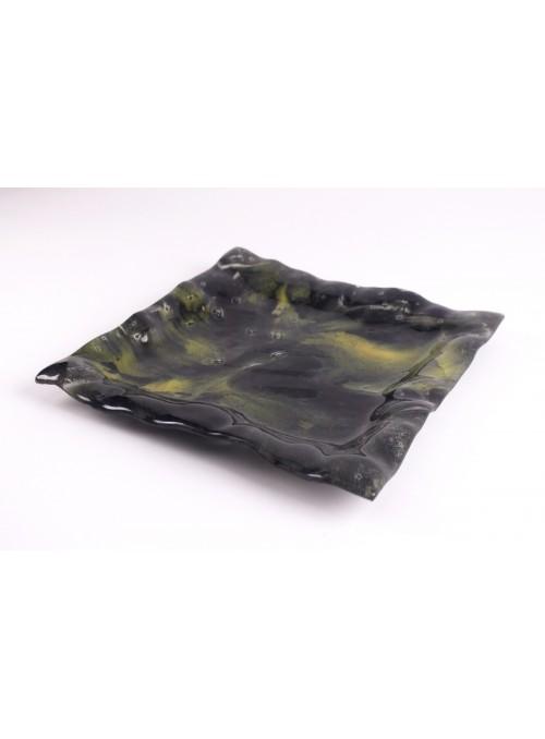 Vassoio quadrato Laguna realizzato a mano in vetro fusione