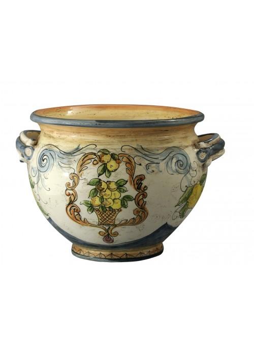 Portavaso piccolo di ceramica in stile classico, cotto e decorato a mano
