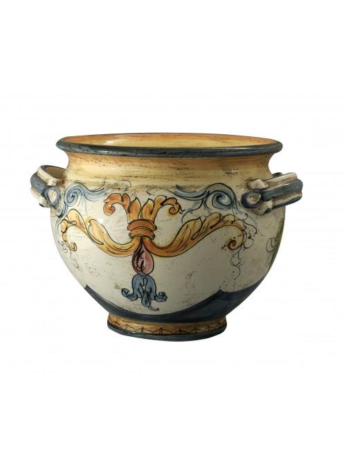 Portavaso medio di ceramica in stile classico, cotto e decorato a mano