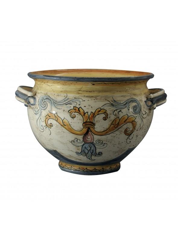 Portavaso grande di ceramica in stile classico, cotto e decorato a mano