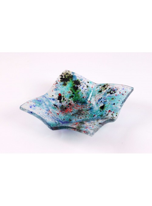 Squared light blue tray handmade with fusion glass - Galassia