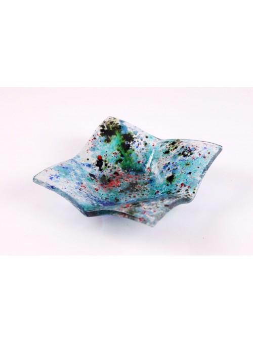 Vassoio quadrato azzurro realizzato a mano in vetro fusione - Galassia