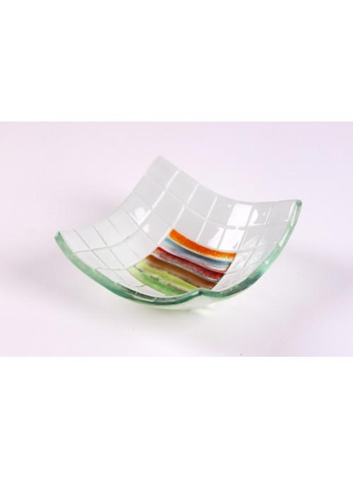 Vassoio quadrato di vetro realizzato a mano con decorazione Arcobaleno