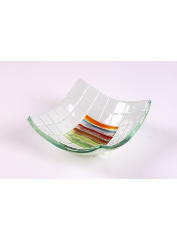 Handmade squared glass tray decorated by rainbow colours - Arcobaleno