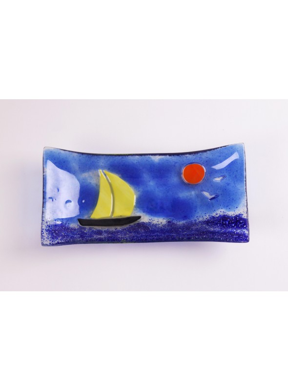 Handmade rectangular glass tray decorated by a seascape - Vela 1