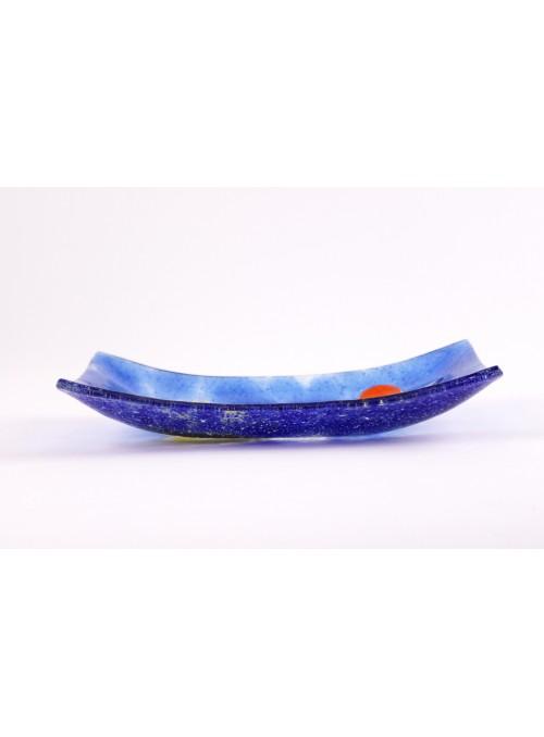 Vassoio rettangolare ornamentale decorato a mano con un paesaggio marino - Vela 1