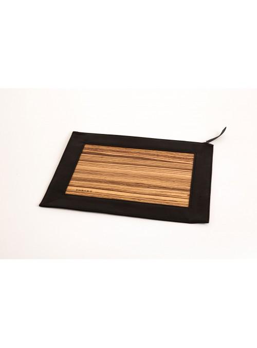Portadocumenti o custodia per iPad in pelle e legno pregiato con chiusura magnetica - Philo
