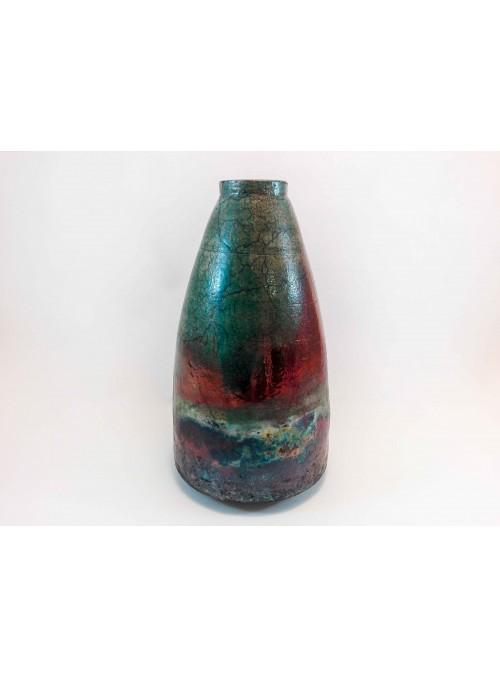 Japanese ceramic handmade vase Raku