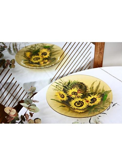 Centrotavola di vetro decorato con girasoli dipinti