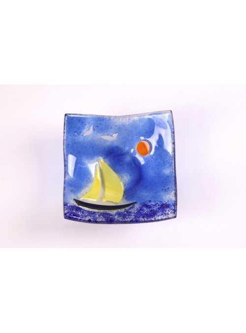 Handmade sqared glass tray decorated with a seascape - Vela 2