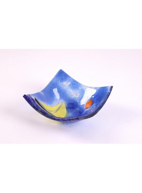 Vassoio quadrato ornamentale con un paesaggio marino - Vela 2