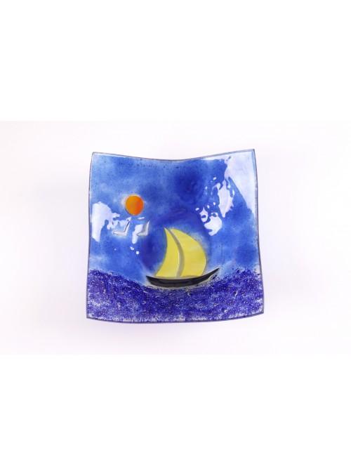 Vassoio quadrato ornamentale con un paesaggio marino - Vela 3 grande