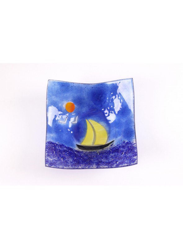 Handmade sqared glass tray decorated with a seascape - Vela 3 Large