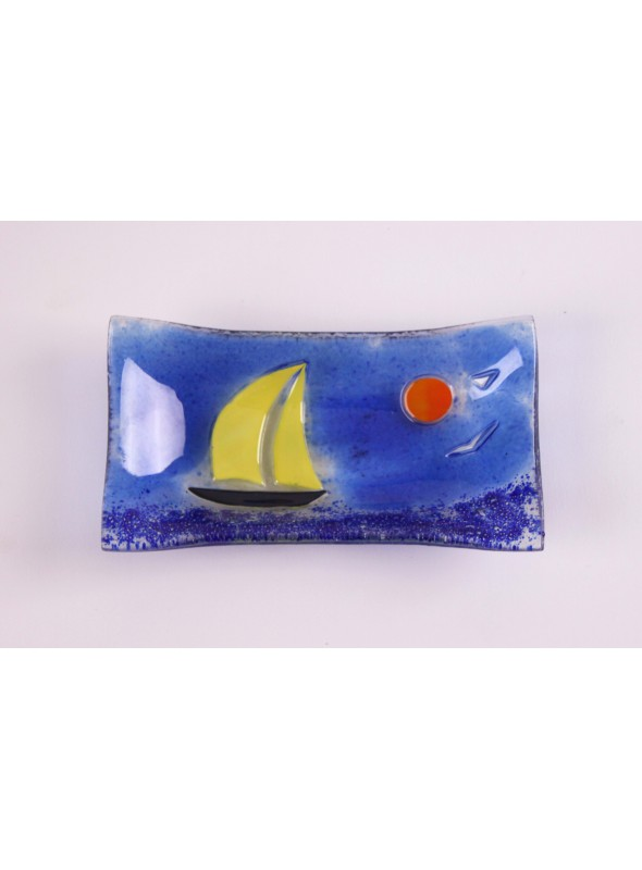 Handmade rectangular glass tray decorated by a seascape - Vela 4 little